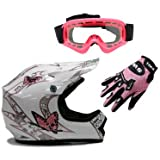 TMS Youth Kids White Pink Butterfly Dirt Bike ATV Motocross Off-road Helmet DOT with Goggles and Gloves (Medium)