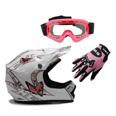 Dot Pink Motorcycle (TMS Youth Kids White Pink Butterfly Dirt Bike ATV Motocross Off-road Helmet DOT with Goggles and Gloves (Large))