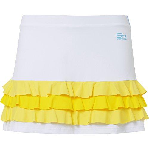 SPORTKIND Jupe volants de Tennis/Hockey sur gazon/Sport avec short intgr pour Filles et Femmes mlange blanc