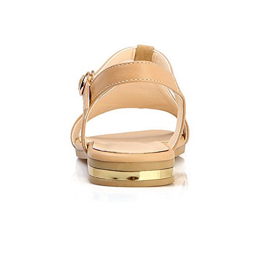 AmoonyFashion Womens Open Toe Low Heels Soft Material Solid Buckle Sandals Apricot vohIP6pIPx