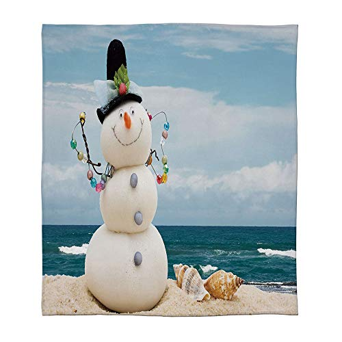 - YOLIYANA Super Soft Blanket,Snowman,for Camping Bed Couch,Size Throw/Twin/Queen/King,Winter Vacation Holiday Theme Snowman with Seashells