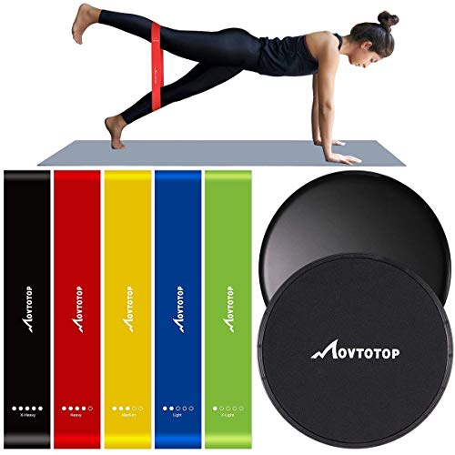 MOVTOTOP Resistance Bands and Core sliders-Set of 7- Professional Exercise Bands for Legs and Butt, Arms and Shoulders, Portable Workout loops for Women Men Fitness Yoga For Sale