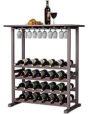 DlandHome 4/6 Ebenen für 32/48 Flaschen Weinständer Wein Weinregal Flaschenregal Holz für Bar, Küche