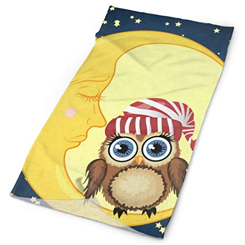 Curly Moon Owl - Women Headbands Funny Owl Moon Star Night Bird Stretchable Yoga Running Athletic Sport