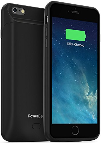 PowerBear iPhone 6 Plus Battery Case iPhone 6S Plus 7200 mAh External Rechargeable Charger Pack for Apple iPhone 6 Plus and 6S Plus Up to 245 percent Extra Battery BLACK 24 Month Warranty Included