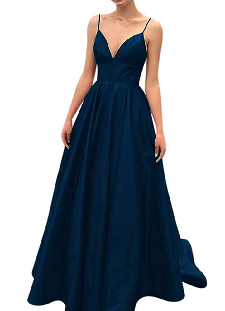 Teal Fanciest Women's Spaghetti Straps 2019 Satin Prom Dresses Long Formal Evening Gowns
