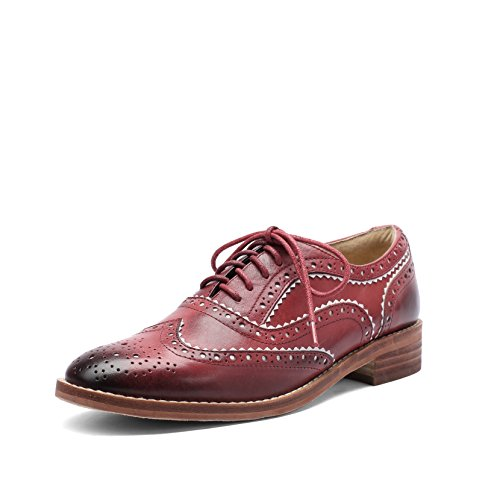 MANRINO Breathable Real Leather Upper Lace Up Wingtip Womens Oxford Flats Saddle Shoes (US 7, Red-Brown)