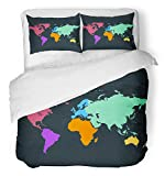 Emvency 3 Piece Duvet Cover Set Breathable Brushed Microfiber Fabric Brown Continent Color World Map Abstract Africa America Asia Atlas Australia Border Bedding Set with 2 Pillow Covers Twin Size