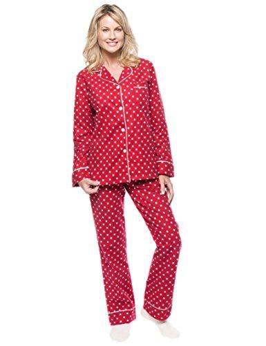 (Women's Cotton Flannel Pajama Sleepwear Set - Dots Diva Red-White -)
