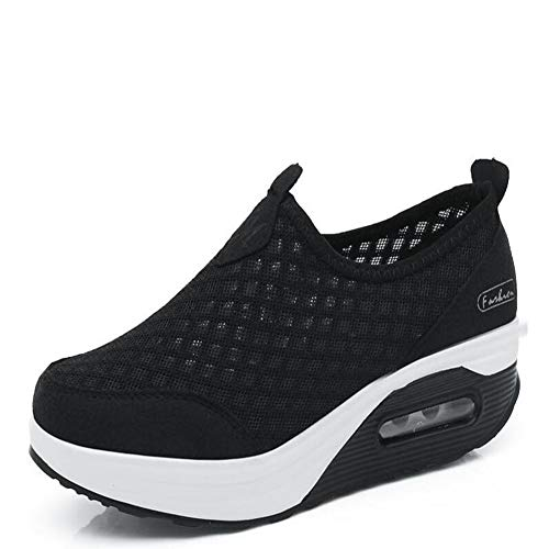 DETAIWIN Womens Fashion Running Sneakers Striped Mesh Lace-up Breathable Platform Comfortable Wedges Sport Shoes