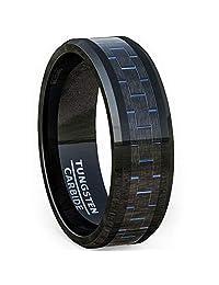 Mens Wedding Band 8mm Black Tungsten Ring Blue Carbon Fiber Beveled Edge Comfort Fit