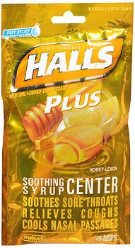 - Halls Plus Soothing Syrup Center Drops Honey-Lemon - 25 ct, Pack of 5