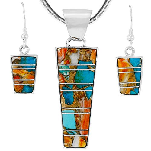925 Sterling Silver Matching Pendant & Earrings Set Spiny Turquoise 20