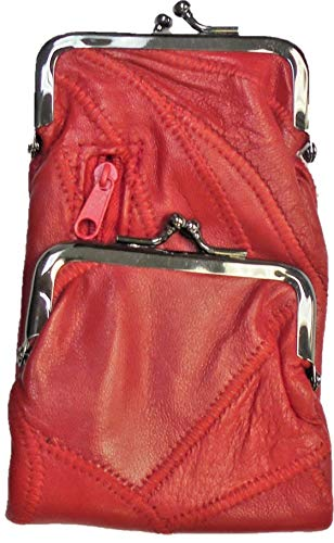 Lambskin Patched Leather - Red Patched Lamb Skin Cigarette Case with Zipper Pocket and Lighter Case Fit 100 and 120's
