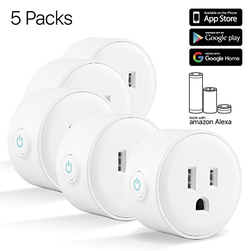 TNP Smart Plug Mini Wifi Outlet – Remote Control Smart Socket Wireless Compatible with Alexa Echo Google Home, No Hub Required, Indoor Outdoor Timer Switch Socket Android, IOS White – 5 Pack