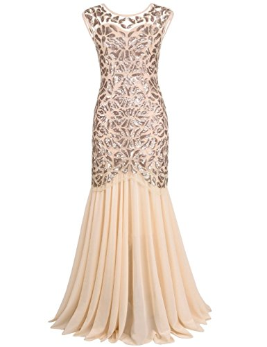 kayamiya Women's 20s Beaded Floral Maxi Long Gatsby Flapper Prom Dress M Champagne