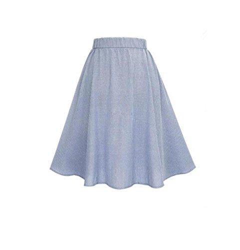 Simple Femmes Breasted Patineuse ESAILQ Haute Taille Jupe Dentelle Bleu vase Stripe vase RERq0xwd