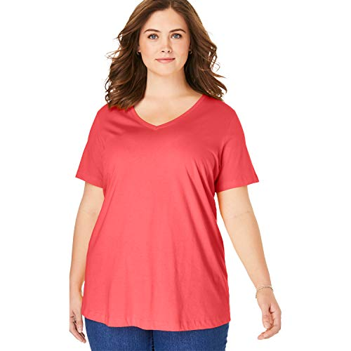 (Woman Within Women's Plus Size Perfect V-Neck Tee - Soft Geranium, 5X)
