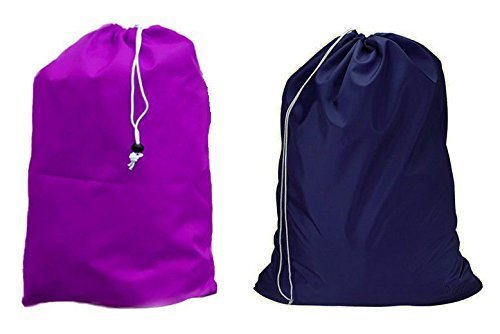 Large 30 X 40 Inch Heavy Duty Nylon Laundry Bag with Drawstring Slip Lock Closure, SET OF 2!!! Assorted Colors and Designs