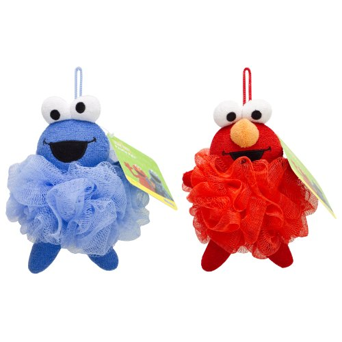 Pals Elmo and Cookie Monster Bath Pouf, Kid's Loofah for Bath and Showers, Bath Time Fun (Elmo Bath)
