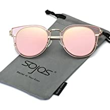 SojoS Fashion Polarized Sunglasses UV Mirrored Lens Oversize Metal Frame SJ1057