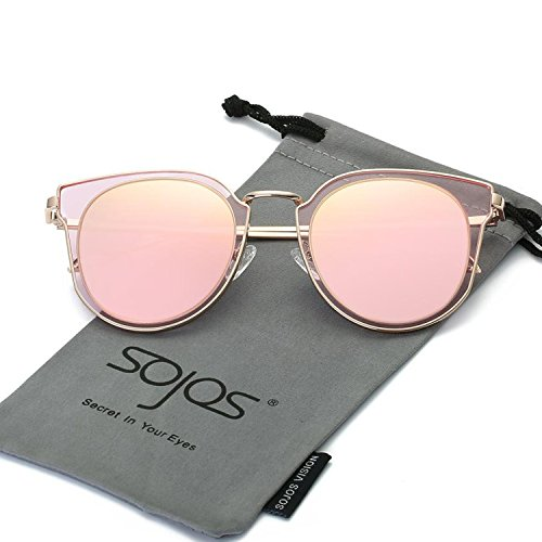 SojoS Fashion Polarized Sunglasses UV Mirrored Lens Oversize Metal Frame SJ1057 With Rose Gold Frame/Pink Mirrored Lens