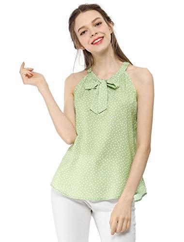 Allegra K Women's Summer Dot Blouse Tie Bow Neck Halter Sleeveless Tank Top Green S (US -