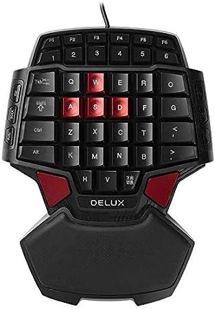 Delux T9 teclado profesional para Gaming con una sola mano USB 47 teclas (no Backlit)