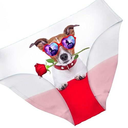 3D Print Briefs Underwear for Women Skull Hands/Animals/Cat/GOG Gothic (Large, Cute Dog with Rose) ()