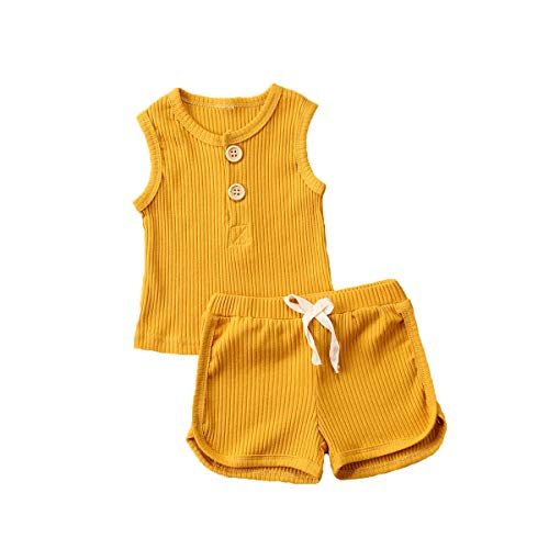 Newborn Baby Boys Girls Summer Outfits Infant Ribbed Knitted Cotton Short Sleeve T-Shirt + Shorts Two Piece Clothes Set