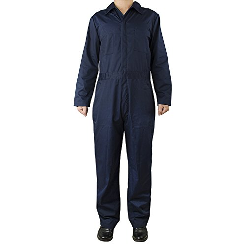TopTie Men's Basic Long Sleeve Twill Zip-Front Coverall-Navy-L