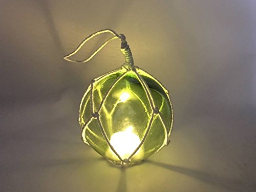 LED Lighted Green Japanese Glass Ball Fishing Float with White Netting - Kids Float Glasses