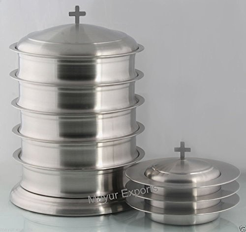 (Stainless Steel Remembrance Ware 5 Holy Communion Tray with Lid base and 3 Stacking Bread Tray Set with Lid)