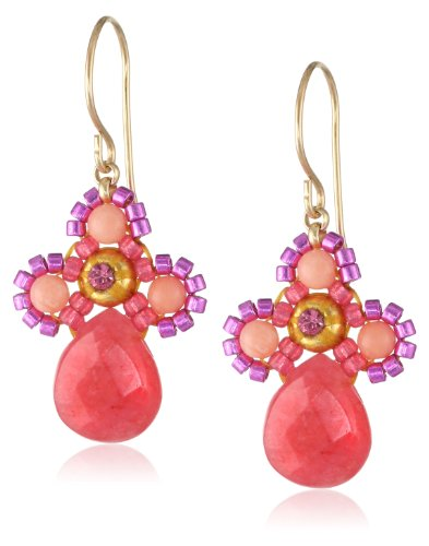 Miguel Ases Small Swarovski Center Pink Coral and Dyed Re...