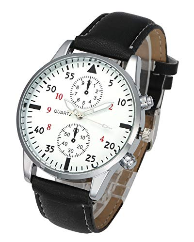 Top Plaza Mens Leather Wrist Watch Classic Casual Big Face Arabic Numerals Silver Case Analog Quartz Business Dress Watches - Black #1