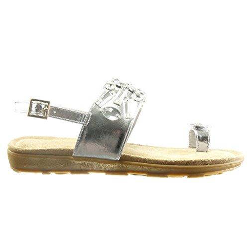 Angkorly - Chaussure Mode Sandale ouverte femme bijoux lanière Talon compensé 2 CM - Blanc