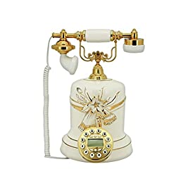 FACAIG Blue Telephone Pastoral of the ancient ceramics retro budget of the fixed telephony & creative of phone numbers welcome (color blue)