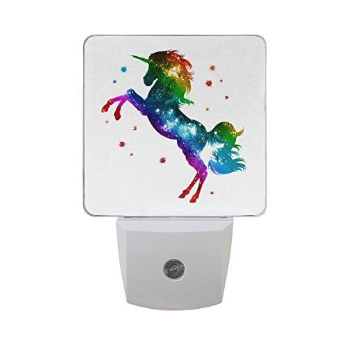 JOYPRINT Led Night Light Rainbow Animal Unicorn Glitter Star, Auto Senor Dusk to Dawn Night Light Plug in for Kids Baby Girls Boys Adults Room