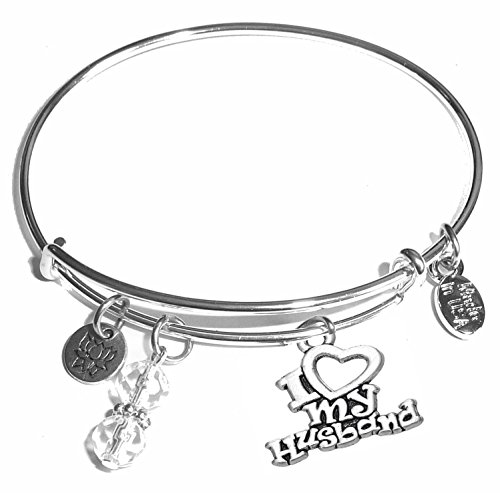 Hidden Hollow Beads Message Charm (84 Options) Expandable Wire Bangle Women's Bracelet, in The Popular Style, Comes in A Gift Box! (I Love My Husband)