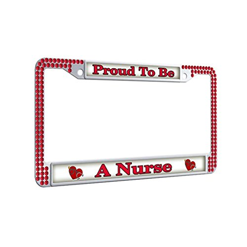 (FramePro Sparkle License Plate Frame,Proud To Be A Nurse Auto License Plate Frame Car Tag Frame for women With Bolts Washer)
