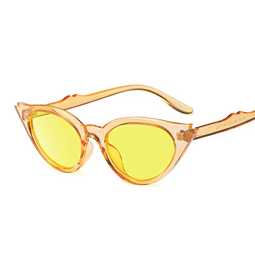 Small Vintage Cateye Sunglasses for Women 50s Chic Fashion Retro UV400 Sunshades (Clear Orange)