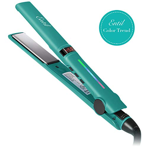Hair Straightener, Entil Flat Iron with 1 inch Ionic Ceramic Titanium Plates, Professional Salon Tool, Dual Voltage, Digital Controls for Women with Curly Long Short Thick Fine Thin Wavy Hair Travel (Straightener Blue Hair)