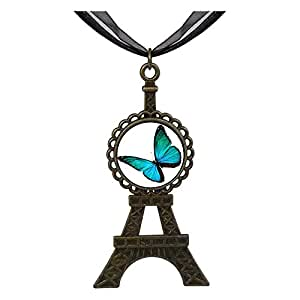 Chicforest Bronze Retro Style Beautiful Lovely Butterfly Eiffel Pendant