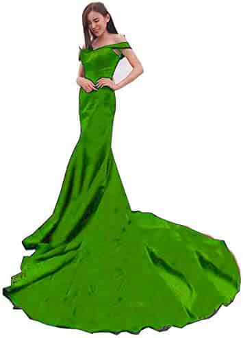 a8b850e5320 MariRobe Women s Mermaid Off The Shoulder Evening Dresses Satin Backless  Formal Party Dress Formal Gown