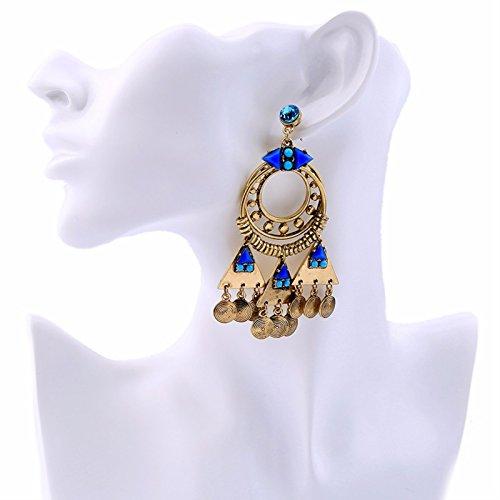 ptk12 Vintage Retro Style Coin Tassels Dangle Earring Beach Bohemian Ethnic Jewelry Belly Dance Accessory Charm Earrings by ptk12 (Image #5)