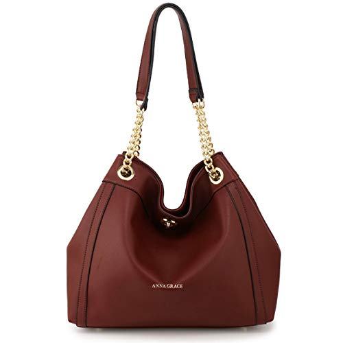 LeahWard Women's Faux Leather Shoulder Bags Quality Nice Handbags For School A4 Holder CW190 Burgundy Hobo Bag