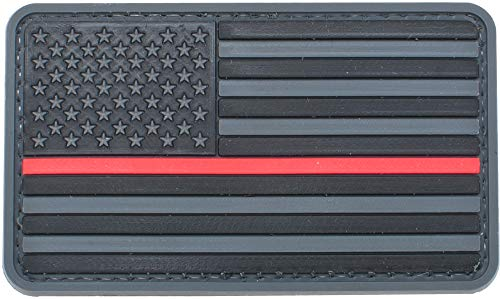 Evike US Flag PVC Hook and Loop Rubber Patch (Color: Regular/Thin Red Line)