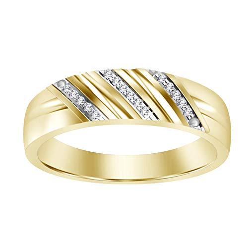 Eternal Bliss 0.03 cttw Round Diamond Accent Solid 10K Yellow Gold Men's Wedding Band Ring (Color - I-J, Clarity -I2) (9) (Wedding Bands For Men Diamond)