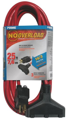 Prime Wire Cable CB614725 25 Foot 14 3 SJTW Triple Tap Outdoor Extension Cord