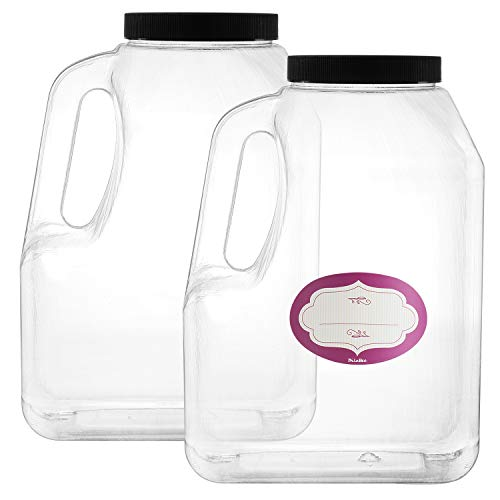 2 Pack - 1 Gallon Clear Square Plastic Empty Storage Containers - Jars w/Plastic Airtight Lids - Empty Jugs with Handles - Wide Mouth Easy Clean - Great For Commercial & Industrial Use (2 Pack 128 oz)